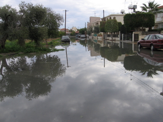 flooding in the streets of Larnaka