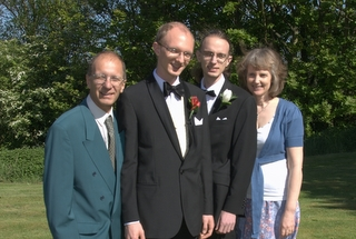 The family after the wedding - Richard, Sue, Daniel and Tim