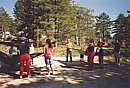 Water-balloon volleyball in Troodos